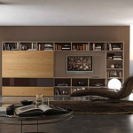 Stunning-Wall-Unit-with-Brown-Leather-Lounge-Chair-also-Shelves-and-Bookcase-plus-Round-Coffee-Table-and-Round-Carpet-Area-and-Wall-Mounted-Tv-and-Curtains